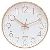 Foxtop Modern Wall Clock Silent Non-Ticking Decorative Battery Operated Quartz Clock for Living Room Bedroom Home Office School Rose Gold Decor 12 inch