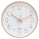 Foxtop Horloge Murale sans tic-tac, Moderne, Silencieuse, Quartz Ronde Pendules Murales pour Salon Cuisine Bureau (Or Rose, 12 pouces/30 cm)