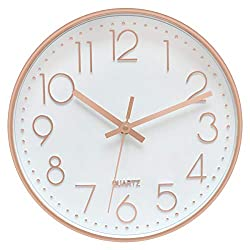Foxtop Modern Wall Clock 12 Inch Non-Ticking Rose Gold Wall Clock Silent Battery Operated Round Quartz Clock for Living Room Bedroom Home Office School Decor