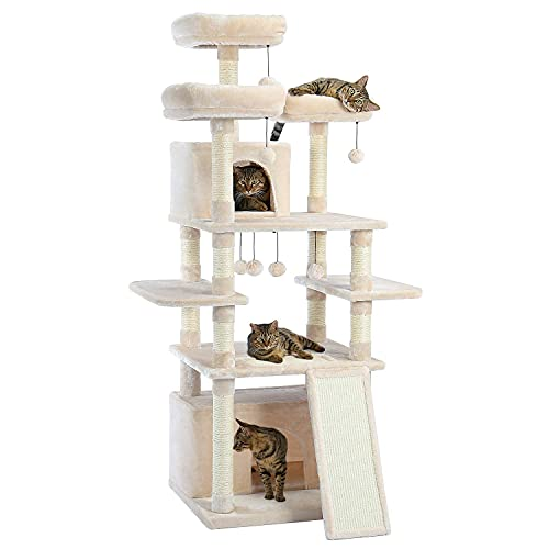 Made4Pets 66 Inches Multi-Level Cat Tree Tower with Feeding Bowl (only Dry Food), Deluxe Kitten Condos with Cozy Perches and Replaceable Dangling Balls Beige