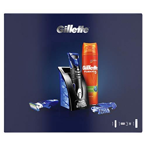 Gillette Styler Multiusos Maquinilla de Afeitar Hombre, Perfiladora + 1 Cuchillas de Recambio + 3 Cabezales + Fusion 5 Gel de Afeitar, Regalos Originales para Hombre