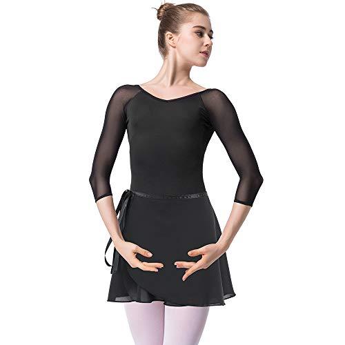 Bezioner Maillot de Danza Gimnasia Leotardo Clásico Ballet Vestido para Niñas Mujer Negro con Falda,M=150-155 cm