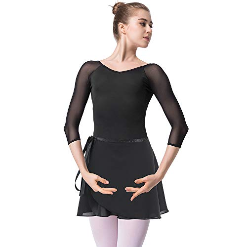 Bezioner Ballettanzug Mädchen 3/4 Arm Gymnastikanzug Damen Trikot Turnanzug (Schwarz mit Rock, XL=160cm-165cm)