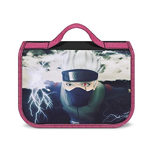 Hatake Kakashi - Bolsa de aseo portátil de gran capacidad, bolsa de almacenamiento de cosméticos, unisex, resistente al agua, con estilo, súper compartimentos