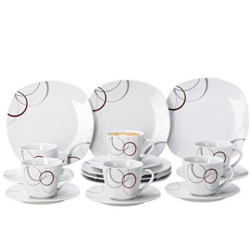 Van Well Kaffeeservice Palazzo 18tlg. - weiß mit Dekor-Kreisen in grau und dunkelrot - für 6 Personen