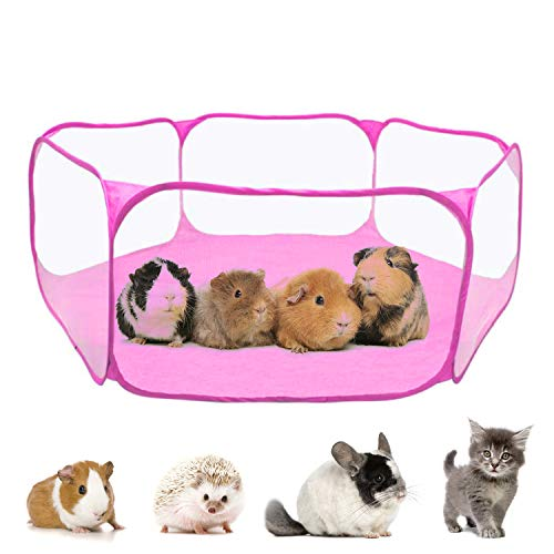 RYPET Guinea Pig Playpen - Breathable & Transparent Pet Playpen Pop Open Outdoor/Indoor Exercise Fence, Portable Yard Fence for Guinea Pig,...