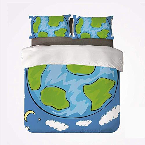 Miwaimao Dibujo de Earth Childs del Planeta Tierra rodeado de Nubes Ciclo diurno y Nocturno,Juego de Ropa de Cama con Funda nórdica de Microfibra y 2 Funda de Almohada - 240 x 260 cm