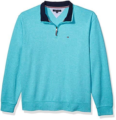 Tommy Hilfiger Men's 1/4 Zip Mockneck Sweatshirt, Meadowbrook Heather, XL