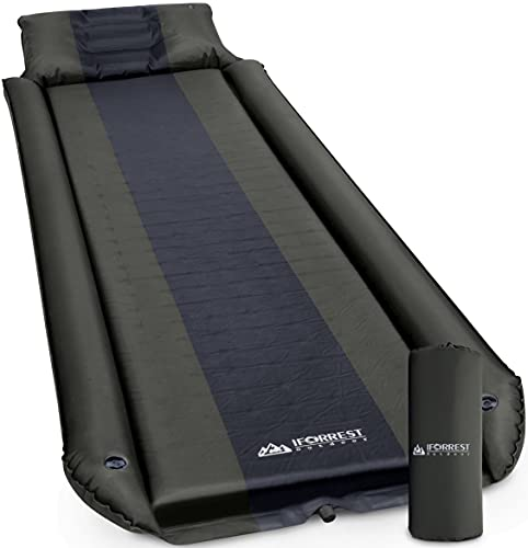 IFORREST Sleeping Pad w/Armrest & Pillow - Rollover Protection - Self-Inflating Camping Mattress, Best Cot-Mats - Ultra-Comfortable Hiking Backpacking Air Bed (L/XL) (Army Green/X-Large)