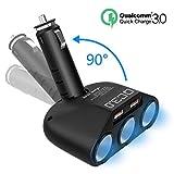Rytaki Adattatore Accendisigari con 3 Prese 18W, Caricabatteria da Auto con 2 USB 3.0 Quick Charge Output 5V, 2.4A per Smartphones/GPS/Dispositivi da Auto.