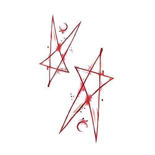 3 feuilles de cicatrice temporaire tatouages Réalistes étoiles corps autocollants de tatouage pour Halloween Fools Day Fête costumée
