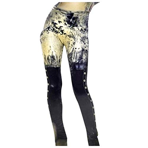 Luotuo Skinny Hose Damen Vintage Patchwork Bleistifthose Freizeit Hohe Taille Hosen Leggings Tregging Slim Fit Hose Tights Hüfthosen Jeanshosen Stretchhose