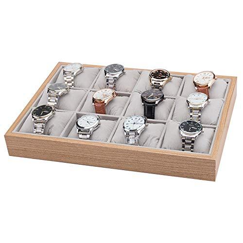 Caja de Relojes Estuche para Relojes, Regalo de almacenamiento Organizador con las almohadillas de madera apilable 12 ranuras pulsera del reloj del brazalete del reloj de sostenedor de la bandeja del