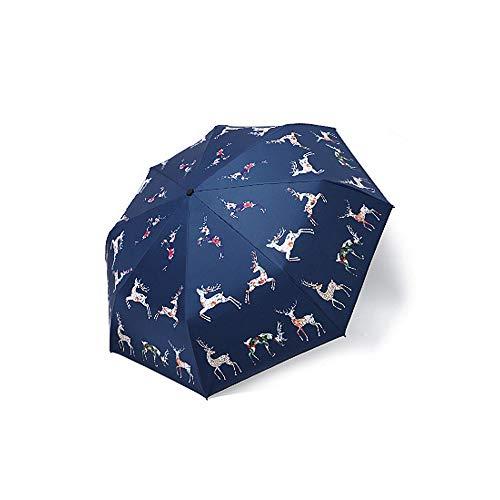 QX-soft Ultraleichter faltender Sonnenschirm, Sonnenschutz-UVregenschirm, Damen-schöner Gedruckter wasserdichter Regenschirm,Blau,8K