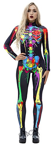 JomeDesign Womens 3D Skeleton Halloween Costumes Cosplay Jumpsuit Bodysuit Colorful Skull Small