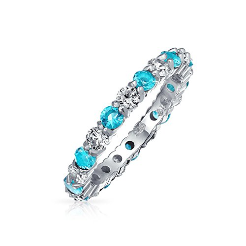 Cubic Zirconia Aqua Blue White Alternating Stackable CZ Eternity Ring Simulated Aquamarine Sterling Silver December