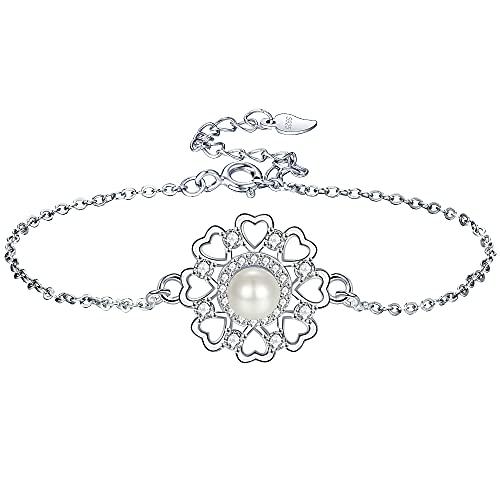 JENDEAR Pulsera de Perlas Mujer 925 Plata Ajustable Cumpleaños Aniversario Regalos de Joyería