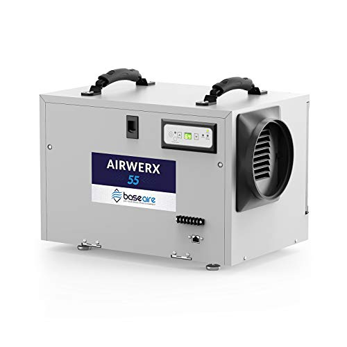 BaseAire AirWerx55 Commercial Dehumidifier Removal 113 Pint at Saturation, 53 PPD Crawl Space Dehumidifier, Compact, Memory Starting, for Any Water Damage Restoration Sites, Basement.