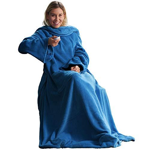CelinaTex TV-Decke Kuscheldecke mit Ärmeln und Fußtasche XL 170 x 200 cm blau Coral Fleece Tagesdecke Ärmeldecke