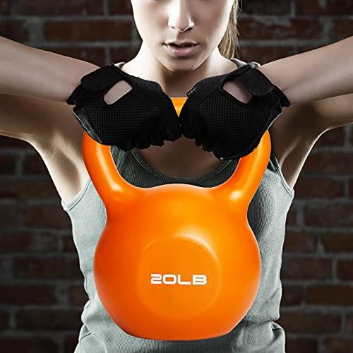 UseeShine Kettlebell 20 lb, Weights Training Kettlebells,Vinyl Coated Cast Iron Hand Grip Kettlebell, Kettlebell Workout Exercise Equipment for Women/Men/Beginner/Home Gym/Strength Training Equipment