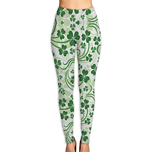 Yujiakubbj Lucky Celtic Clovers Swirls All Seasons,Breathable Printing Yoga Pants with Pockets,Tummy Control,Workout Pants for Women 4 Way Stretch Yoga Leggings for Women-Fashion