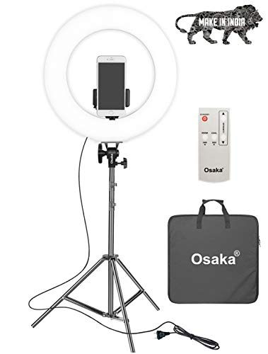 Osaka 18 Inches LED Ring Light 65W Adjustable Color Temperature Wireless Remote Control 9 Feet Light Stand for MX Takatak Instagram vlog YouTube Video Shooting Compatible with DSLR Camera Smartphones