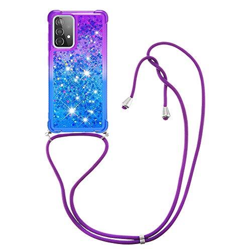 HülleLover Handykette Handyhülle für Samsung Galaxy A52 5G, Glitzer Flüssig Bewegende Treibsand Transparent Silikon Hülle mit Kordel zum Umhängen Necklace Hülle Band für Samsung A52 4G/5G, Lila-Blau