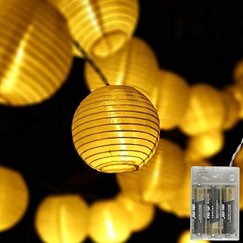 Gresonic 20er LED Lichterkette Lampion/Laternen Deko für Garten Weihnachten Party Hochzeit Innen und Außen mit dem Stecker (Warmweiss, 20LED Batteriebetrieben)
