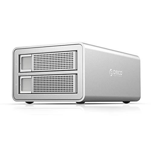 ORICO 2 Bay USB 3.0 to SATA External Hard Drive RAID Enclosure Support 32TB, 2.5/3.5 inch HDD SSD Enclosure for Music Photo Video Data Storage Backup (Support RAID)