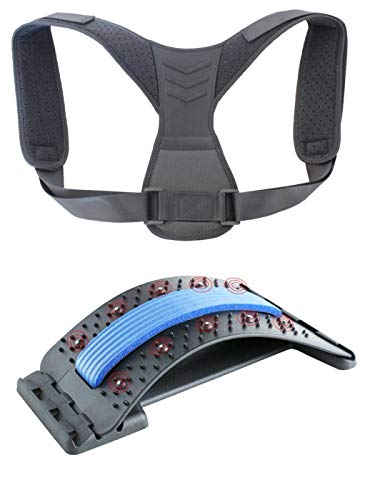 Back Stretcher & Posture Corrector, Back Relief Kit, Lower and Upper Back Relief for Back Pain, Lumber Support for Men, Women and Children