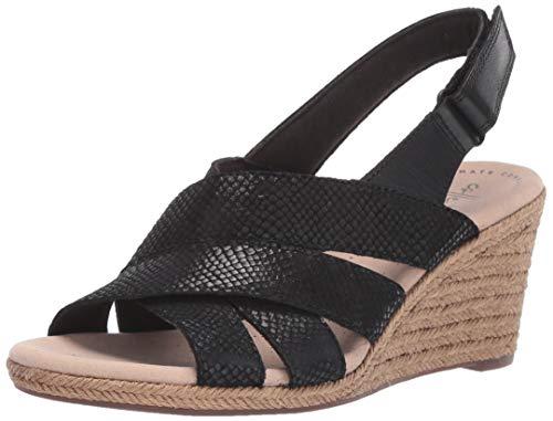 Clarks Women's Lafley Krissy Espadrille Wedge Sandal, Black/Suede Leather Combi, 100 M US
