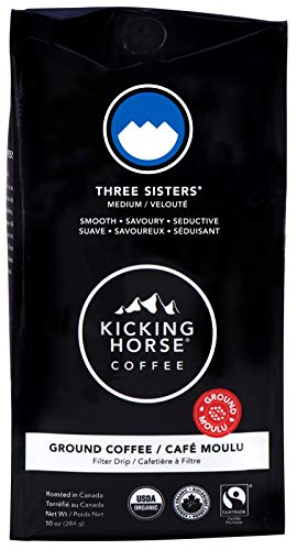 Kicking Horse Coffee, Three Sisters, Medium Roast, Ground, 10 Oz - Certified Organic, Fairtrade, Kosher Coffee