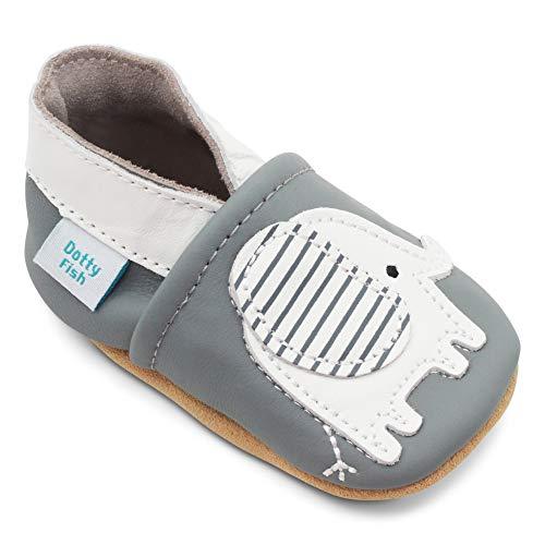 Dotty Fish Weiche Leder Babyschuhe Krabbelschuhe Lauflernschuhe mit Wildledersohlen. Kleinkind Schuhe für Mädchen und Jungen. 0-6 Monate bis 4-5 Jahre. (Grau mit Elefant, Numeric_21)