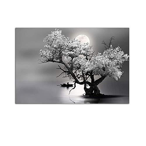 Startonight Cuadro sobre Vidrio - Luna y Árbol Blanco y Negro - Moderno Cuadro de Cristal Acrílico 60 x 90 cm