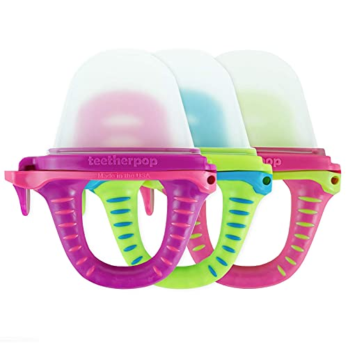 teetherpop 3 Pack - Fillable Teethers for Babies, Breastmilk, Purees, Water, Smoothies, Juice, Baby Food & More (Pink Multicolored)