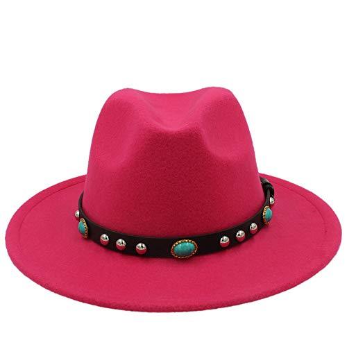 QHDAILY Moda Vintage Sombrero con Joyas Lana Fedora Sombrero Bohemia Mujeres Lana Sombrero Sombrero Nupcial Sombreros de...