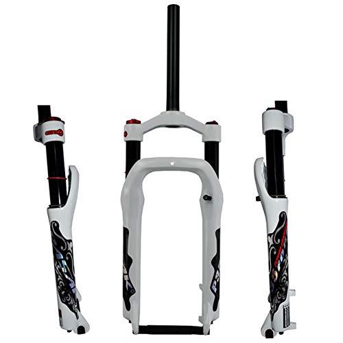 ZCXBHD Nieve MTB Moutain 26 Pulgadas Bicicletas Tenedor Bicicletas Tenedor Grasa Aire Gas Bloqueo Suspensión Forks magnesio aleación Aluminio Durante 4,0' 135 mm Neumático (Color : Air Gloss White)