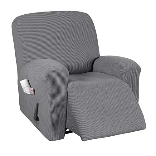Stretch Recliner Cover Recliner Chair Covers for Leather   Living Room Recliner Chair Slipcover with Side Pocket, Thick Soft Small Checked Jacquard, Fitted Standard   Oversized 24 -33  Width, Grey