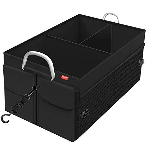MORROLS Organizer Auto, Kofferraumtasche Organizer Faltbar Wasserfeste Langlebig mit Spanngurten, Griff aus Aluminiumlegierung(Schwarz)