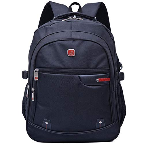 DSM Nylon Men's Computer Backpack Notebook Outdoor Travel Running Young Student Backpack (Color : Black)