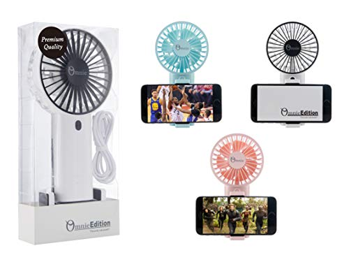 Omnie Edition 7inch (Height) Handheld Personal Fan Lasting up to 2.5 - 6.5 Hours (Highest - Lowest speed) with 3 Speed Setting, One Button Operations for Sports/ Gym/ Yoga/ Outdoor Activities, Strong Wind with Mobile Phone Holder with USB Charge (White)