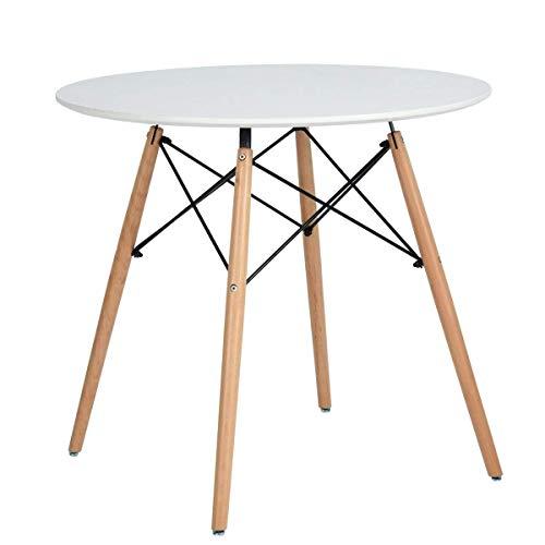 XDLUK Küche Esstisch Weiß Rund Kaffee-Tisch Moderne Freizeit Hölzerne Teetisch Bürotisch