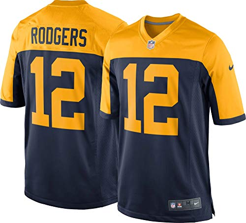 Nike Aaron Rodgers Green Bay Packers NFL Boys Youth 8-20 Navy Alternate On-Field Jersey (Youth X-Large 18-20)