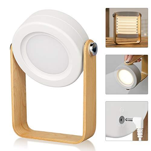 Lámpara de mesita de Noche LED Control táctil Brillo de 3 Niveles Cuidado de los Ojos Escritorio de Carga USB Lectura Luz Nocturna Cumpleaños Dormitorio Mujeres Niñas Niños