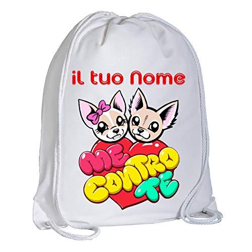 Zaino Sacca Me Contro Te Kira e Ray Cuore Personalizzata con Il Tuo Nome - Zaino a Tracolla - capacità (circa 13 litri) Stampa Brillante e Resistente Idea Regalo Bimbo Bimba Compleanno