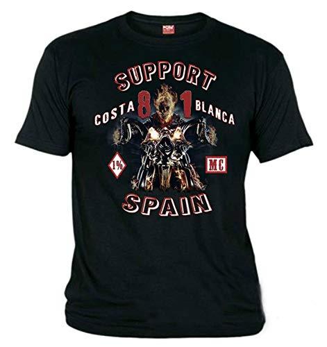 Hells Angels WorldWide Support Store / Big Red Machine World - Hells Angels Ghost Rider Schwarz T-Shirt Support 81 Big Red Machine 1%, 03583-BLA7636, Schwarz, 03583-BLA7636 56