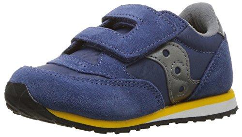 Saucony Baby-Boy's Jazz Hook & Loop Sneaker, Blue/Grey, 9 M US Toddler