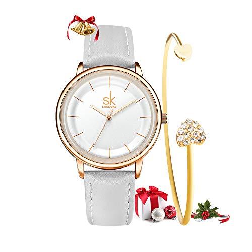 SHENGKE Set da regalo per donna, cinturino in pelle al quarzo, semplice orologio da donna, vestito da ragazza, orologio da polso con bracciale regalo