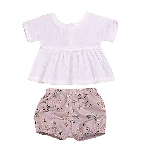 Julhold Zomer Peuter Baby Meisjes Leuke Elegante Comfortabele Linnen Tops Bloemen Print Shorts 2PC Outfits Sets 0-18 Maanden