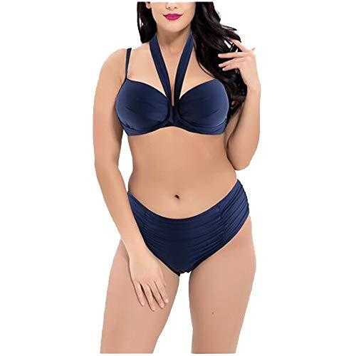 Liyuzhu Big Size Women's Retro Sexy Badpak Dames hoge taille verzameld Tweedelige Swimsuit (Color : Blue, Size : XXXXXXL)